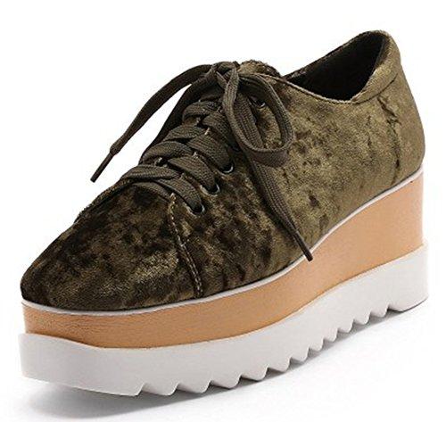 Idifu Donna Moda Bassa Allacciata Alta Zeppa Alta Piattaforma Sneakers Scarpe In Ecopelle Scamosciata Verde