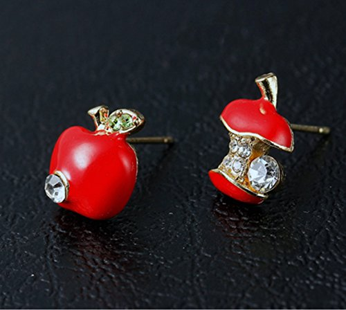 DaisyJewel Golden Delicious Red Snow White Asymmetrical Apple Stud Earrings