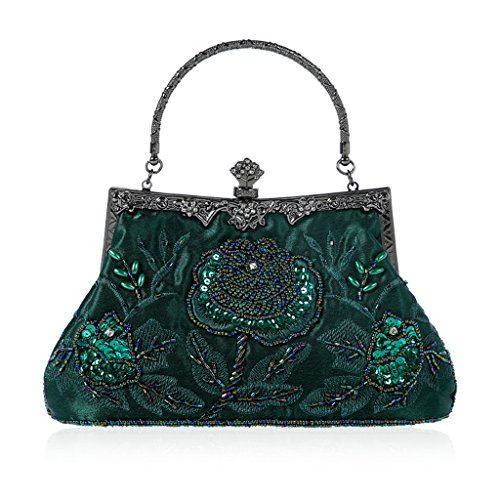 Sample9 Vintage Style Beaded Floral Evening Clutch Bag Wedding Party Prom Purse Handbag Dark green