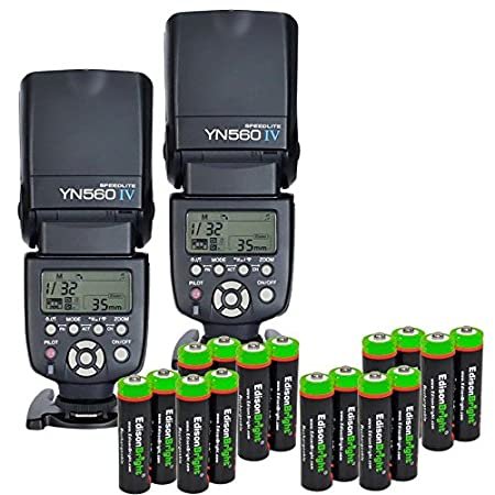 2 Pack YONGNUO YN560 IV YN-560IV Wireless Flash Speedlite Master / Slave Flash with Built-in Trigger System with 16 X EdisonBright Ni-MH rechargeable AA batteries bundle for Canon Nikon Pentax Olympus at amazon