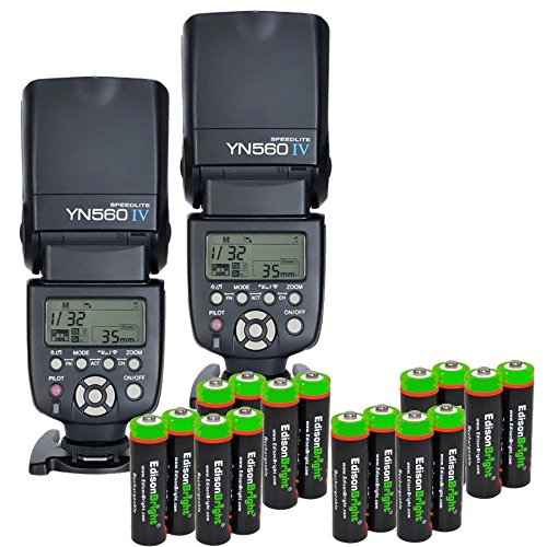 2 Pack YONGNUO YN560 IV YN-560IV Wireless Flash Speedlite Master / Slave Flash with Built-in Trigger System with 16 X EdisonBright Ni-MH rechargeable AA batteries bundle for Canon Nikon Pentax Olympus Fujifilm Panasonic Digital Cameras by Yongnuo