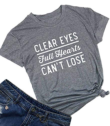 Friday Night Lights Clear Eyes Full Hearts Can't Lose Women Summer T Shirt Tops Graphic Tees Grey