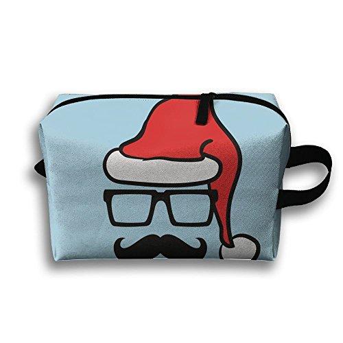 Michgton Cosmetic Bag Face Santa Hat Mustache Womens Portable 3D Printing Travel Multifunction Makeup Case -