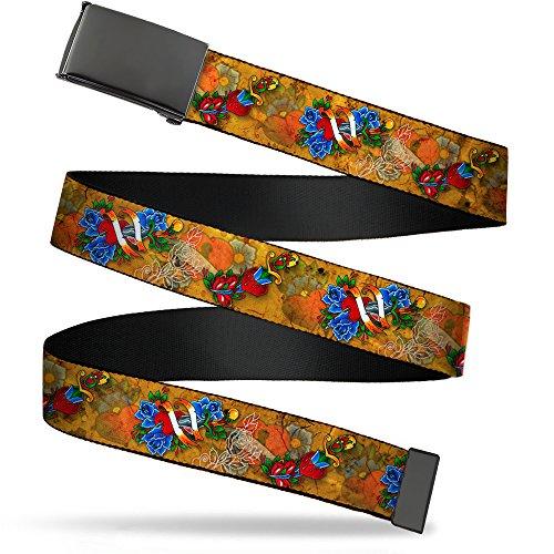 (Buckle-Down Men's Web Belt Tattoo Johnny Hearts & Roses 1.5