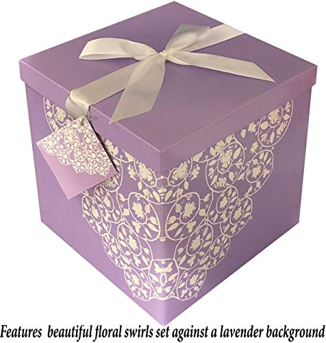 Present Box - EndlessArtUS Gift Box 10x10x10 Cassandra Pop up in Seconds Comes with Decorative Ribbon Mounted on The lid A Gift Tag and Tissue Paper - No Glue or Tape Required
