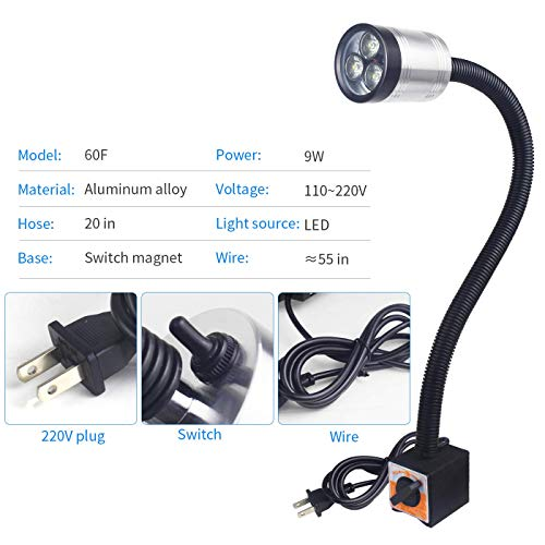Led Magnetic Work Light Flexible Gooseneck 900 Lumens 120 Volt IP66 Water Proof Lamp for Machine Tools Lathe Milling Drill Press Industrial Lighting