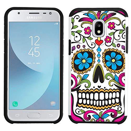 (Galaxy J3 2018 Case [Sugar Skull](Silver) PaletteShield Hybrid Armor Skin Phone Cover (fit Samsung Galaxy J3V 2018/ Star/Achieve/ Express Prime 3))