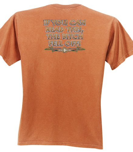 IF YOU CAN READ THIS, THE BITCH FELL OFF Motorcycle Biker Funny Adult Pigment Dyed T-Shirt - Burnt Orange, XL (Funny Adult Pigment)