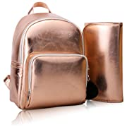 Stylish Rose Gold Diaper Bag Nappy Mom Backpack by Chris Faberline with Waterproof Insulated Pockets and Changing Pad for Baby Wipes, Clothes, and Toys.