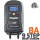 Energizer ENC8A 8 Amp Battery Charger with LCD + Maintainer 6/12V - 9 Step Smart Charging technology will improve your battery's life cycle for Car RV Boat