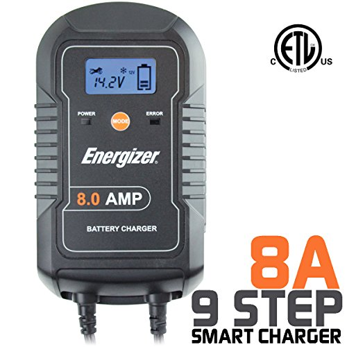 Energizer ENC8A 8 Amp Battery Charger with LCD + Battery Maintainer 6/12V - 9 Step Smart Charging technology will improve your battery's life cycle for Car, RV or Boat