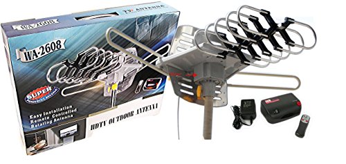 Amplified HD Digital Outdoor HDTV Antenna with Motorized 360 Degree Rotation, UHF/VHF/FM Radio with Infrared Remote