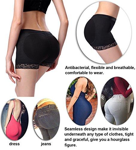 68e72e4647 Jenbou Women s Butt Lifter Shapewear Enhancer Padded Control Panties  Boyshort Seamless Briefs Fake Buttock Hip Lace