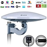 ANTOP UFO 360° Omni Reception Outdoor HDTV Antenna 65 Miles Range with Smartpass Amplified & Built-in 4G LTE Filter Fit Indoor/Outdoor/RV/Attic Use for Enhanced VHF/UHF (PL-414BG)