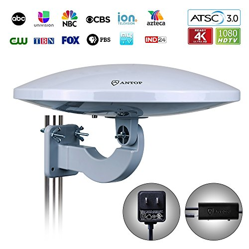 Vhf Omni Antenna - ANTOP UFO 360° Omni Reception Outdoor HDTV Antenna 65 Miles Range with Smartpass Amplified & Built-in 4G LTE Filter Fit Indoor/Outdoor/RV/Attic Use for Enhanced VHF/UHF (PL-414BG)