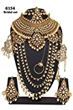 Womens Style Golden Plated Polki Kundan Stone Stone Indian Necklace Earrings Bridal Set Jewelry