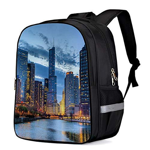 Water Resistant School Backpack, Chicago Bridge River Building Oxford 3D Print College Student Rucksack Daypack for School Camping Travel 41x30x17cm