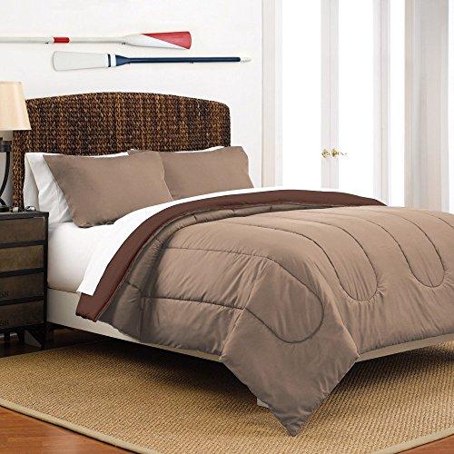 Martex Reversible Comforter Set, King, Khaki/Chocolate
