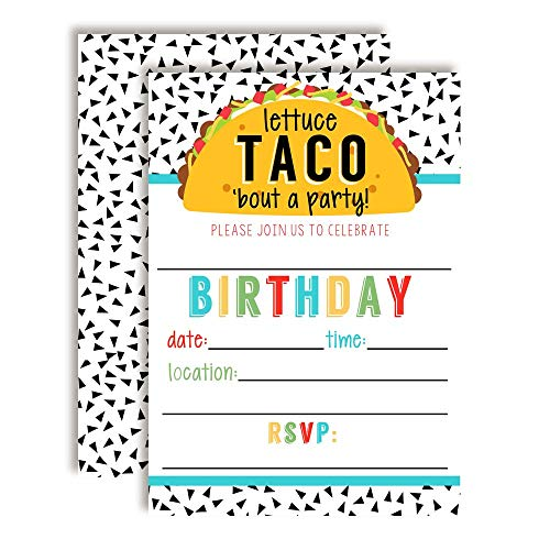Lettuce Taco 'Bout a Party Pun Filled Fiesta Birthday Party Invitations, 20 5