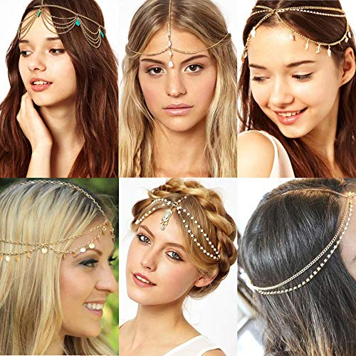 Jstyle 6Pcs Gold Head Chain Jewelry for Women Girls Bridal Bohemian Halloween Headband Hair Headpiece]()