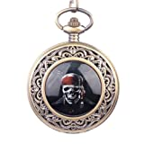 Topearl Pirate of the Caribbean Design Quartz Pocket Watch Chain Black Dial White Roman Numeral, Watch Central