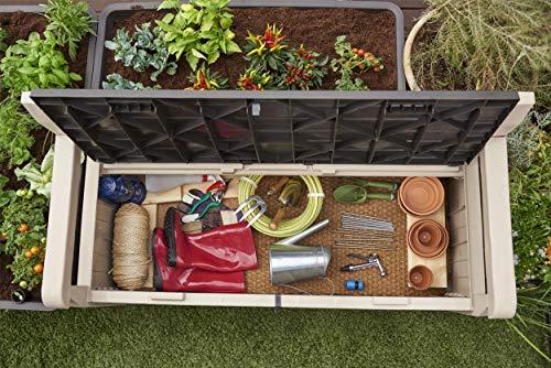 Beige and Brown Keter Eden Bench Outdoor Plastic Storage Box Garden Furniture