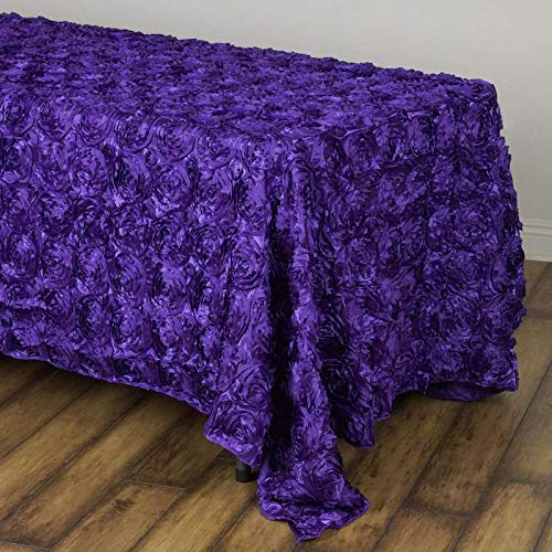 "Efavormart 90""x132"" Wholesale Rectangle Table Cover Purple Grandiose Rosette 3D Satin Tablecloth for Wedding Party Event Decoration"