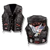 Diamond Plate™ Rock Design Genuine Buffalo Leather Vest (Large)