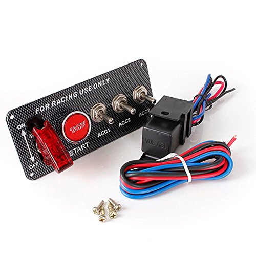 Iglobalbuy 12V Racing Car Engine Start Push Button Ignition Switch Panel 5 in 1 LED Toggle Switch