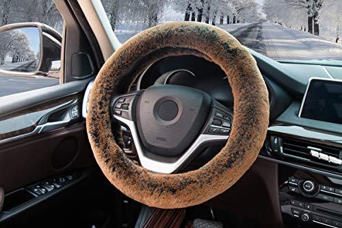 Car Steering Wheel Cover Winter Faux Wool Universal Auto Plush Steering Wheel Cover Protector (Plush Style B Brown) ()
