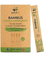 pandoo Set van 4 bamboe tandenborstels, veganistisch, BPA-vrij, speciaal voor kinderen, biologisch en houtvrij, bamboe tandenborstel