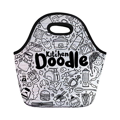 Semtomn Neoprene Lunch Tote Bag Fire Foods and Doodles Sketchy Symbols Home Hand Baking Reusable Cooler Bags Insulated Thermal Picnic Handbag for Travel,School,Outdoors,Work