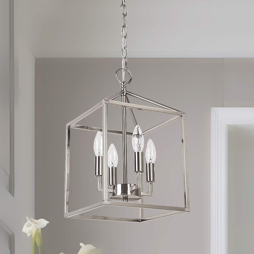 Cerdeco 37940NK Vintage Foyer Lantern, 4-Light Pendant Light, Nickel Finished [UL Listed]