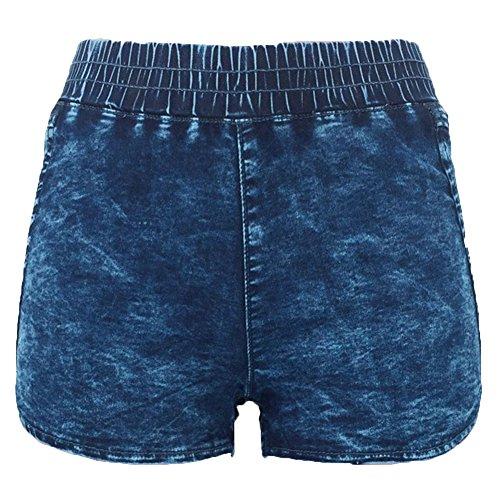 Pantalones Cortos Mujeres Elásticos Shorts De Mezclilla Azul