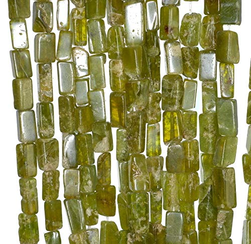 7X4-11X5MM Lemon Jade Gemstone GRD B Green Yellow Rectangle Tube Loose Beads - Rectangle Jade Yellow Beads