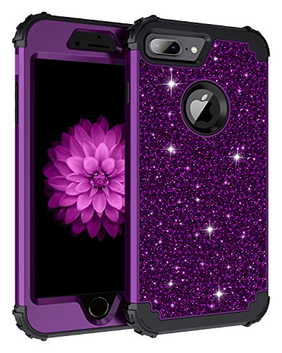 - Lontect Compatible iPhone 8 Plus Case Glitter Sparkle Bling Heavy Duty Hybrid Sturdy Armor High Impact Shockproof Protective Cover Case for Apple iPhone 8 Plus/7 Plus, Shiny Purple/Black