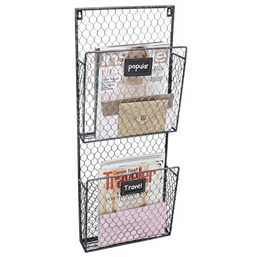 Center Organizer - Country Rustic Gray 2 Tier Wall Storage Baskets / Magazine Rack / File Organizer w/ Chalkboard Labels