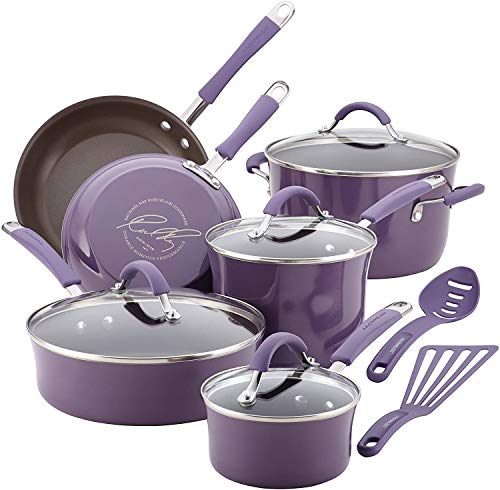 Rachael Ray Cucina Hard Enamel Porcelain 12-Piece Nonstick Cookware Set, Lavender (16783)