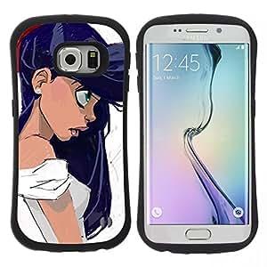 "Pulsar iFace Series Tpu silicona Carcasa Funda Case para Samsung Galaxy S6 EDGE / SM-G925(NOT FOR S6!!!) , Chica Mucho pelo Negro Ojos Retrato Perfil Arte"""