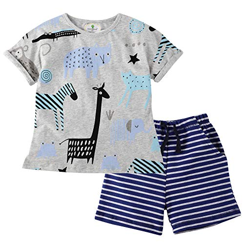 BIBNice Boys Cotton Clothes Summer Pajamas Cotton T-Shirt Short Sets 5t (Animal Pajama Cotton)