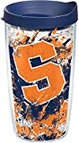 Tervis 1165441 Syracuse Orange Splatter Tumbler with Wrap and Navy Lid 16oz, Clear
