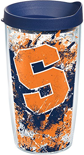 Tervis 1165441 Syracuse Orange Splatter Tumbler with Wrap and Navy Lid 16oz, Clear by Tervis
