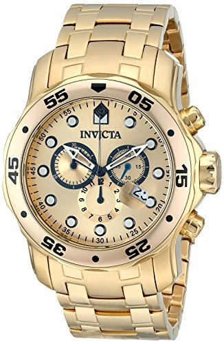 Marker Ss Band - Invicta Men's 0074 pro Diver Analog Japanese Quartz 18k Gold-plated Stainless Steel Watch