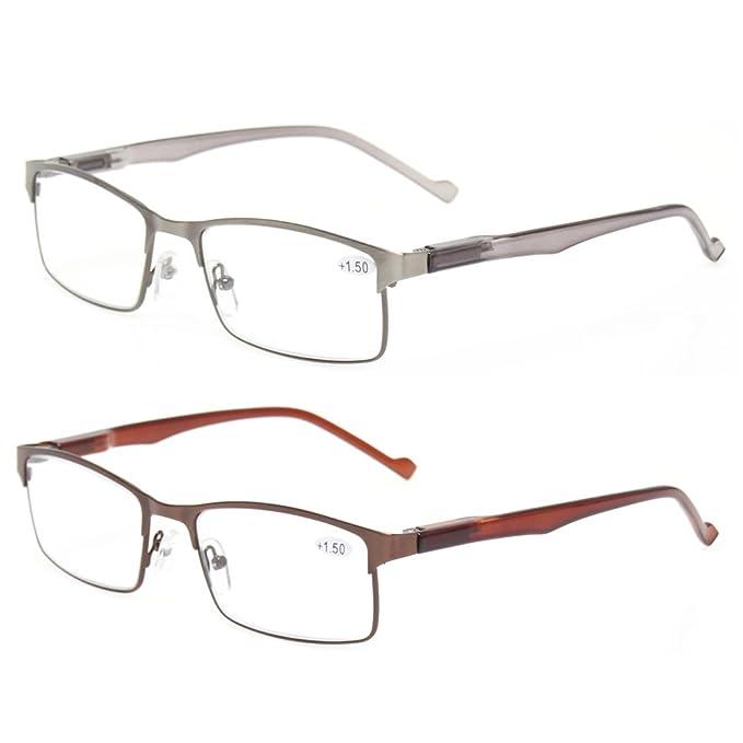 9a9290940cb2 Kerecsen 2-Pack Metal Reading Glasses Stainless Steel Material Spring Hinge  Readers (1 Silver