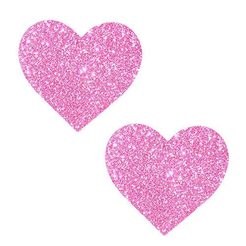 Neva Nude Sparkle Pony Pink Glitter I Heart U Nipztix Pasties Nipple Covers -