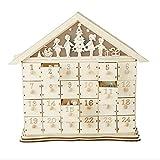 Mind Reader Advent Calendar Festive 24 Compartment Wood Storage Organizer, White