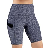 ODODOS High Waist Out Pocket Yoga Shots Tummy Control Workout Running 4 Way Stretch Yoga Shots, NavyHeather, Large