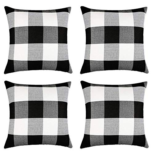 SJEhome Classic Buffalo Check Throw Pillow Covers Plaid Cotton Linen 18X18 Inch Dcortive Cushion Cover Pillowcase for Sofa Car Bed and Chair, Set of 4 Black and White (Set Cushion Sofa)