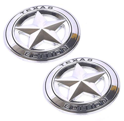 2Pcs 3D Metal TEXAS EDITION Star Car SUV Truck Side Fender Rear Trunk Emblem Badge Sticker Decals Replacement for JEEP Dodge GMC (Chrome/Black) ()