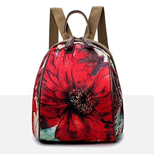 fiore Regalo stile a FENICAL con rosso delle stampa ragazze per etnico delle zainetto a Borsa e donne qR8qB